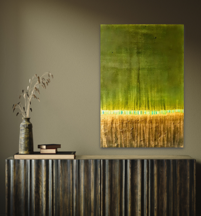 Kunstwerk, Wand, Malerei, minimal, Künstler, Grün, Unikat