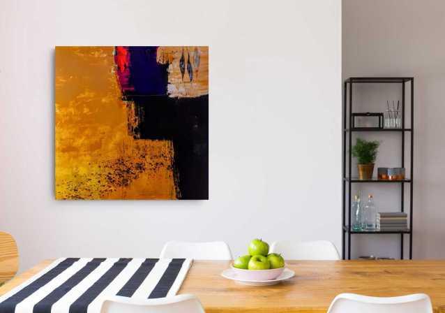 Malerei, Original, Wandbild, Acryl, Gelb, Schwarz, Krönes