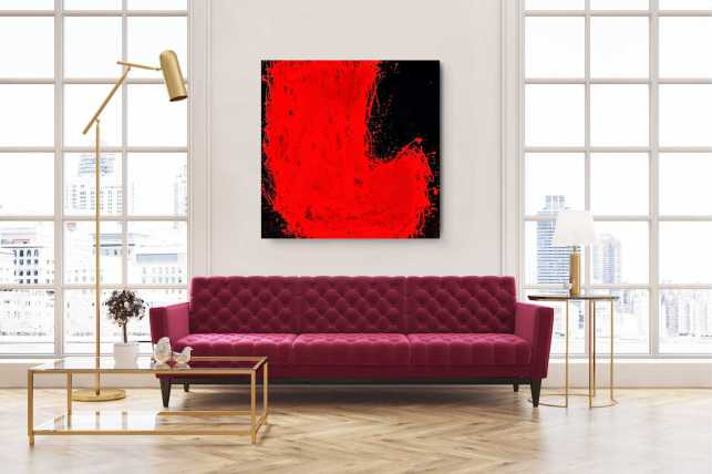 Kunst, Wanddeko, Acryl, Malerei, Original, Rot, Schwarz