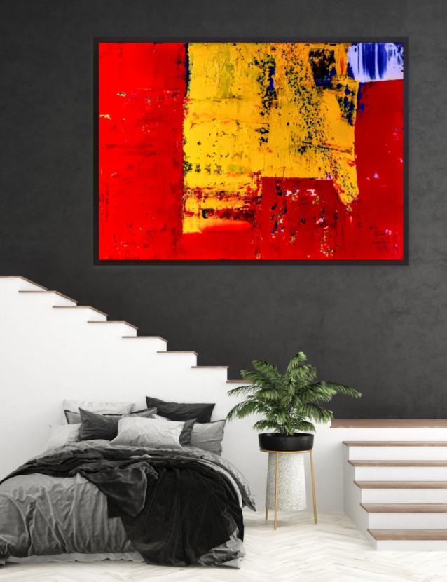 Wandbild, Malerei, Kunst, Original, Rot, Gelb, xxl, Krönes, Atelier