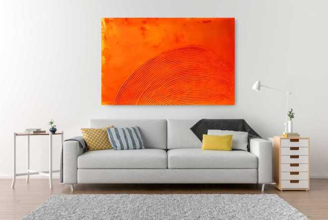 Wandbild Orange, Struktur, echt, Künstler, Unikat, Atelier