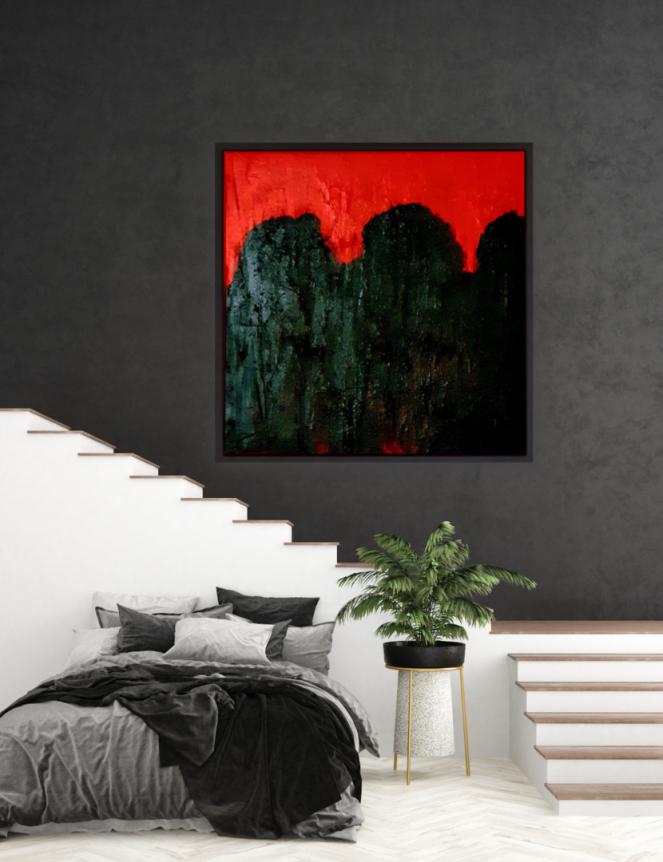 Wandbild, original, Öl, Rot, Schwarz, 100x100, Atelier, Krönes