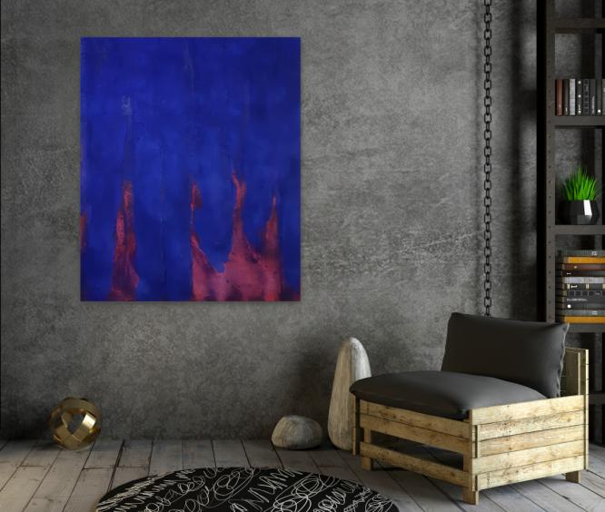 Wandbilder Wohnzimmer, Acryl, Blau, original, Atelier, Auftragsmalerei