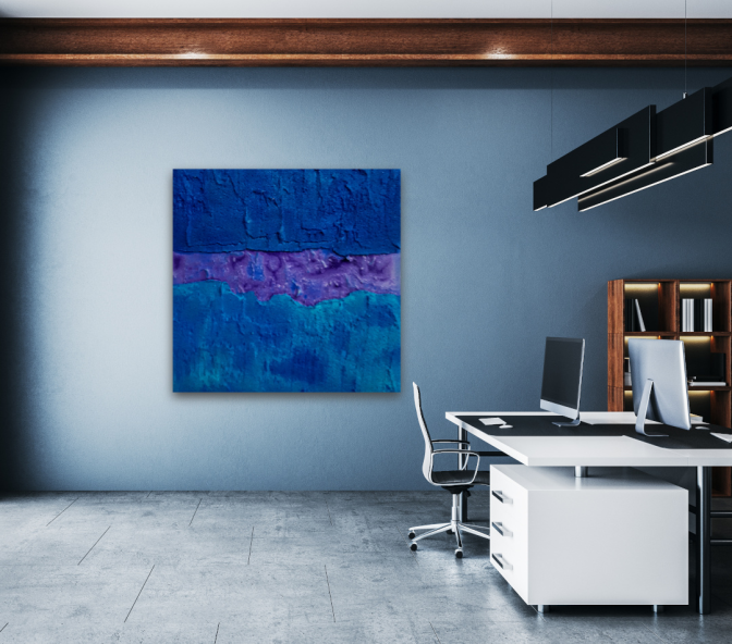 Wandbilder Acryl, Blau, original, 100x100cm, Atelier, Krönes, Unikum
